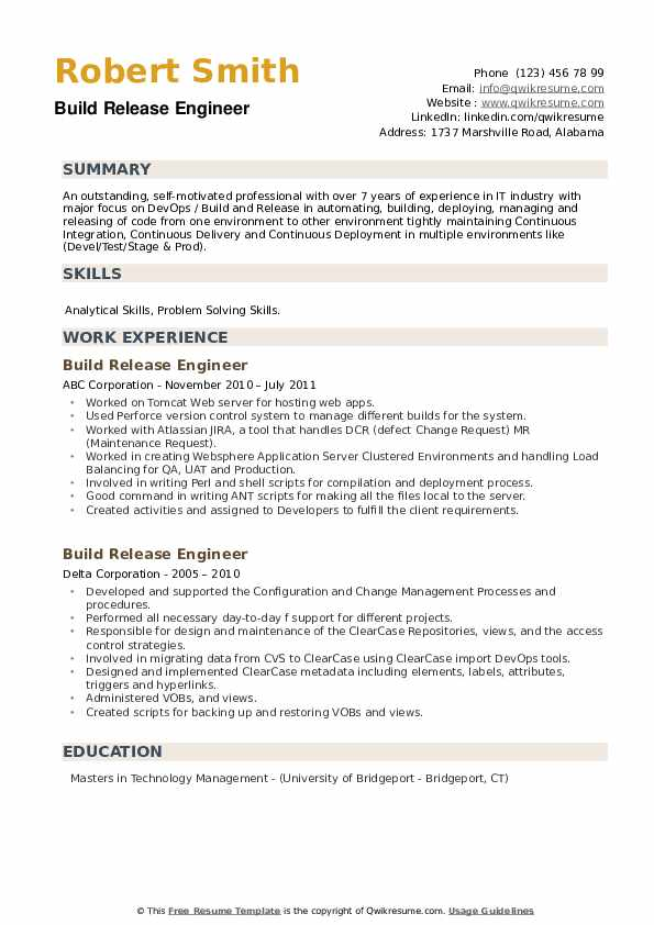Build Release Engineer Resume example