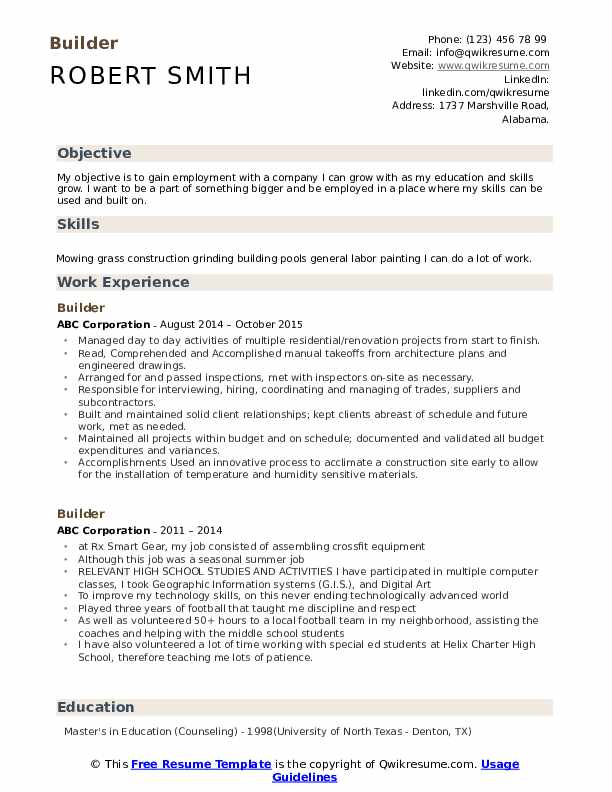 Builder Resume Example