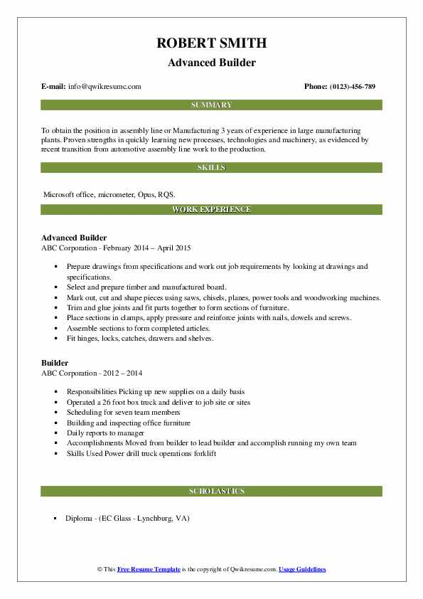 Advanced Builder Resume Template
