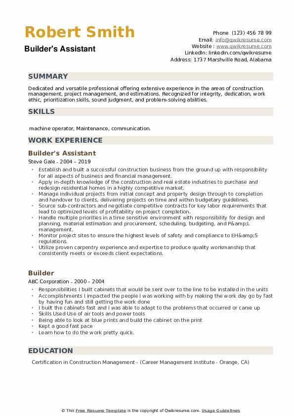 Builder's Assistant Resume Template