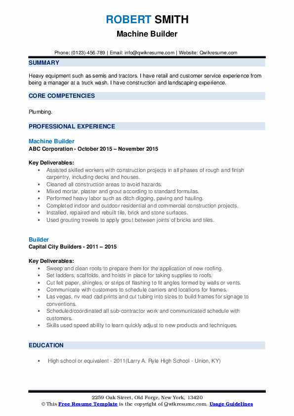 Machine Builder Resume Example