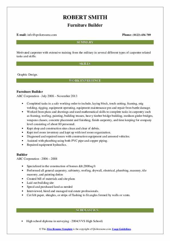Furniture Builder Resume Model