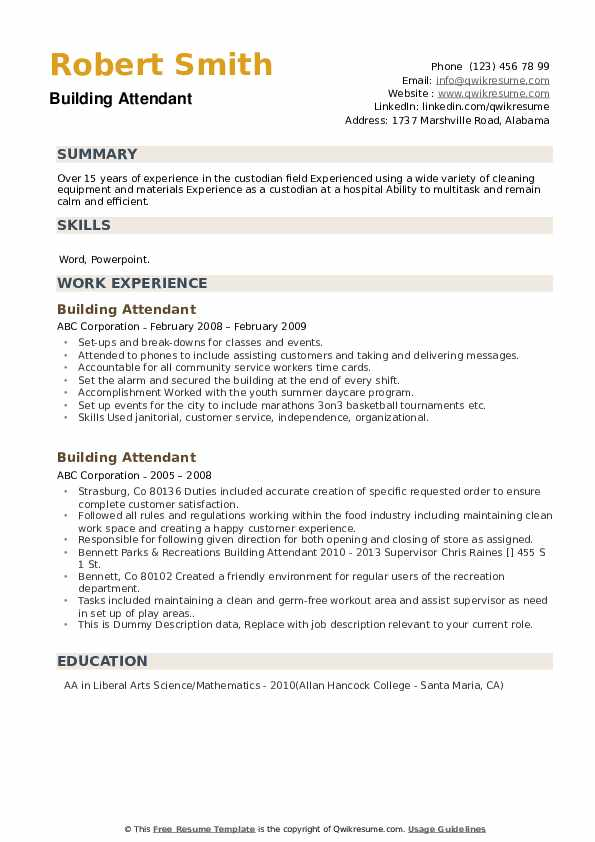 Building Attendant Resume example