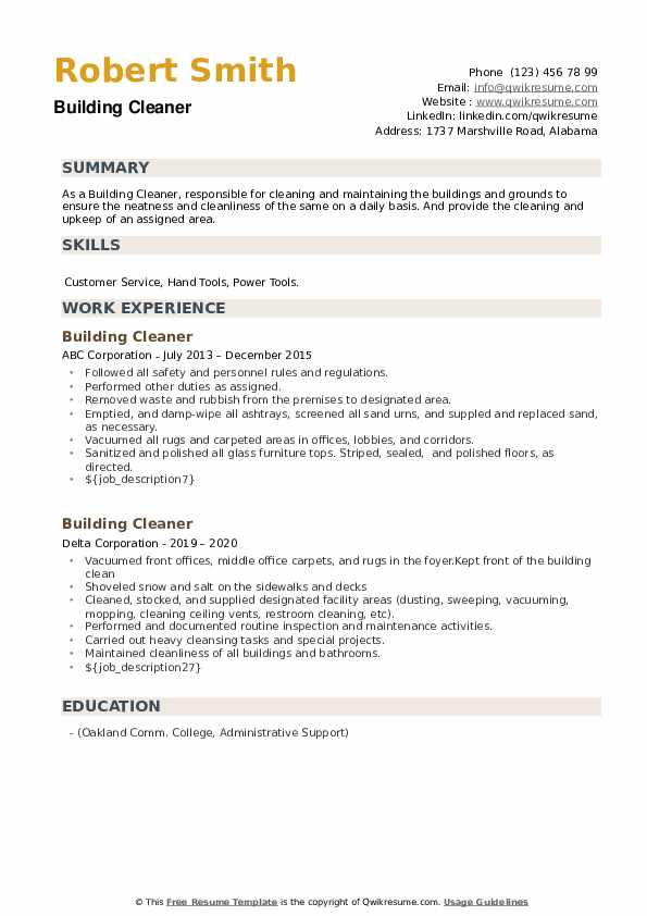 Building Cleaner Resume example
