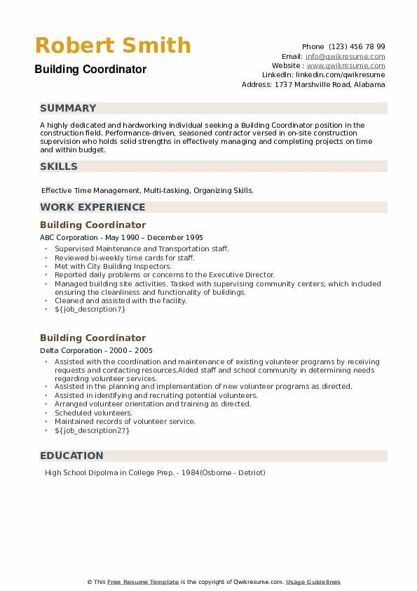 Building Coordinator Resume example