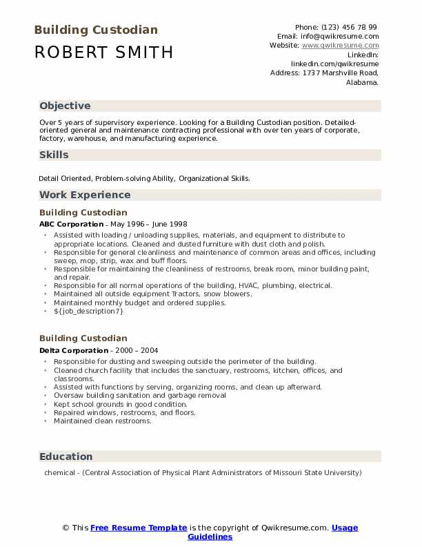building custodian resume samples  qwikresume