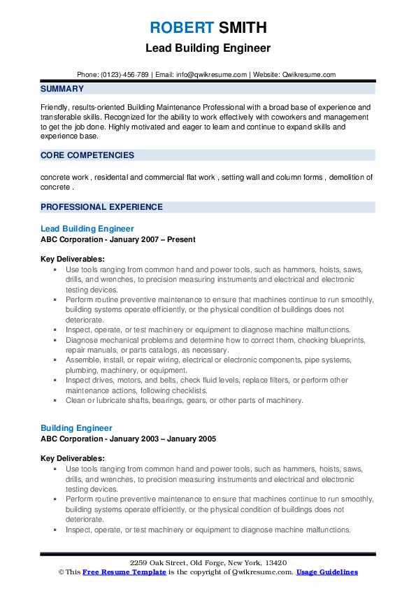 Lead Building Engineer Resume Sample