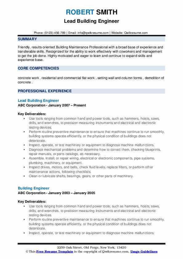 Lead Building Engineer Resume Model