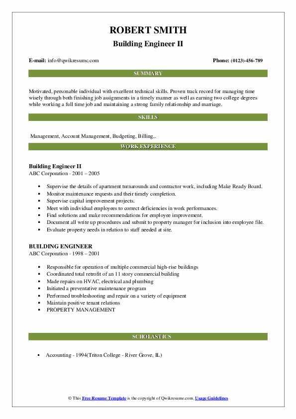 Building Engineer II Resume Format