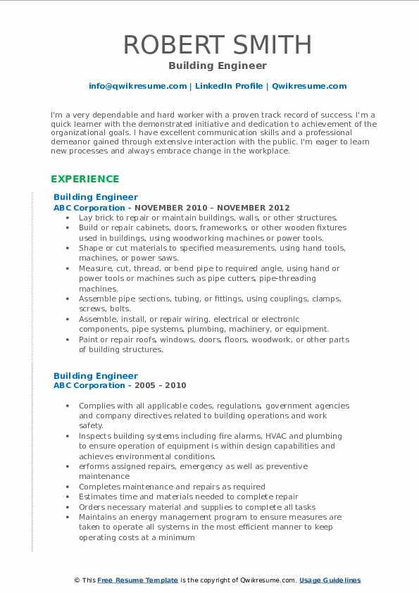 Building Engineer Resume Format