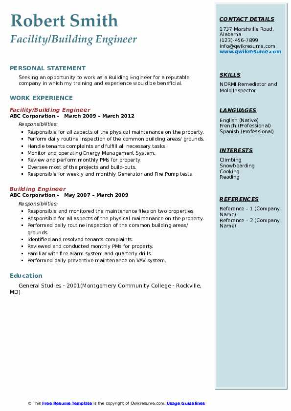 building engineer resume samples
