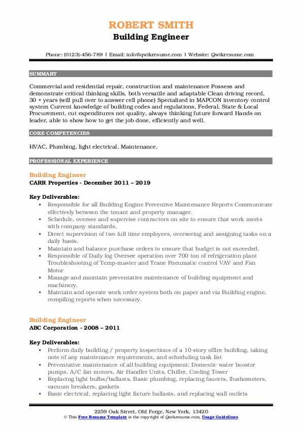 Building Engineer Resume Model