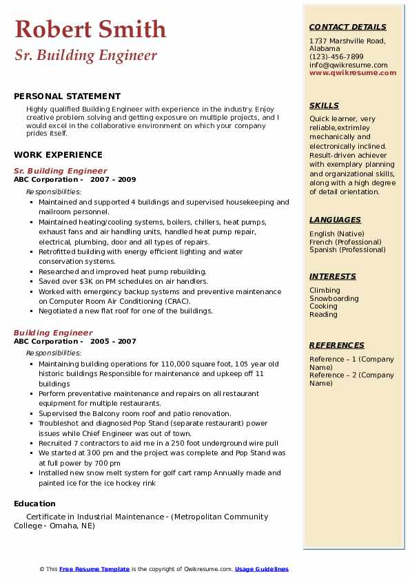 Sr. Building Engineer Resume Model