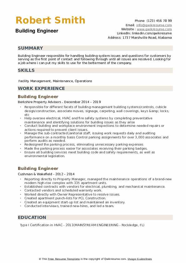 Building Engineer Resume Samples Qwikresume