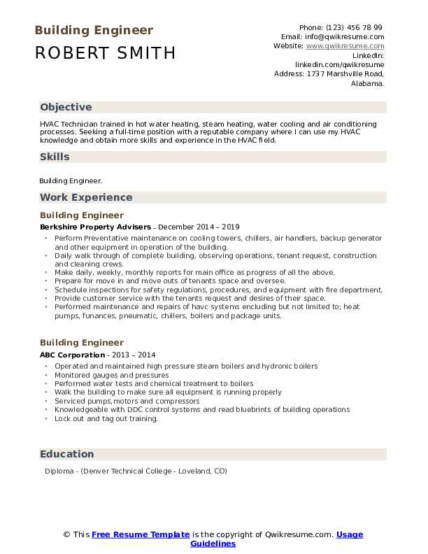 Building Engineer Resume example