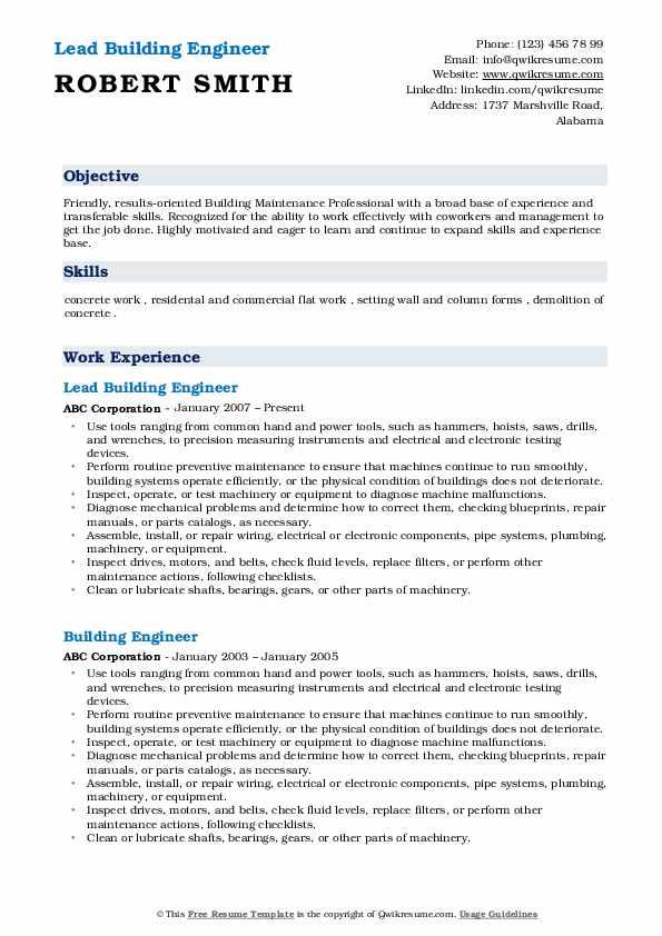 Senior Service Technician/Supervisor  Resume Example