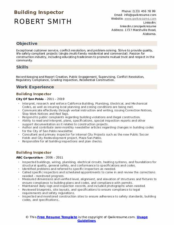 building inspector resume samples