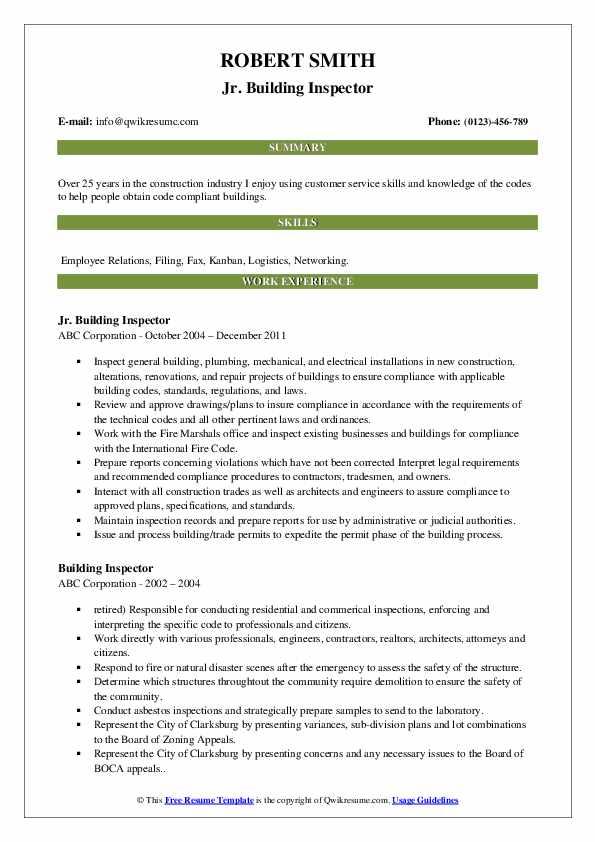building inspector resume samples