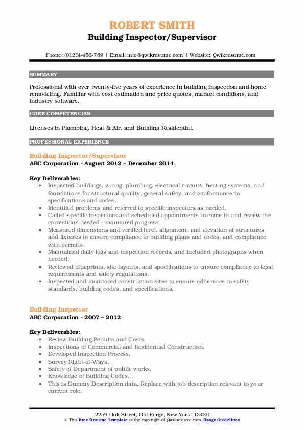Building Inspector/Supervisor Resume Sample