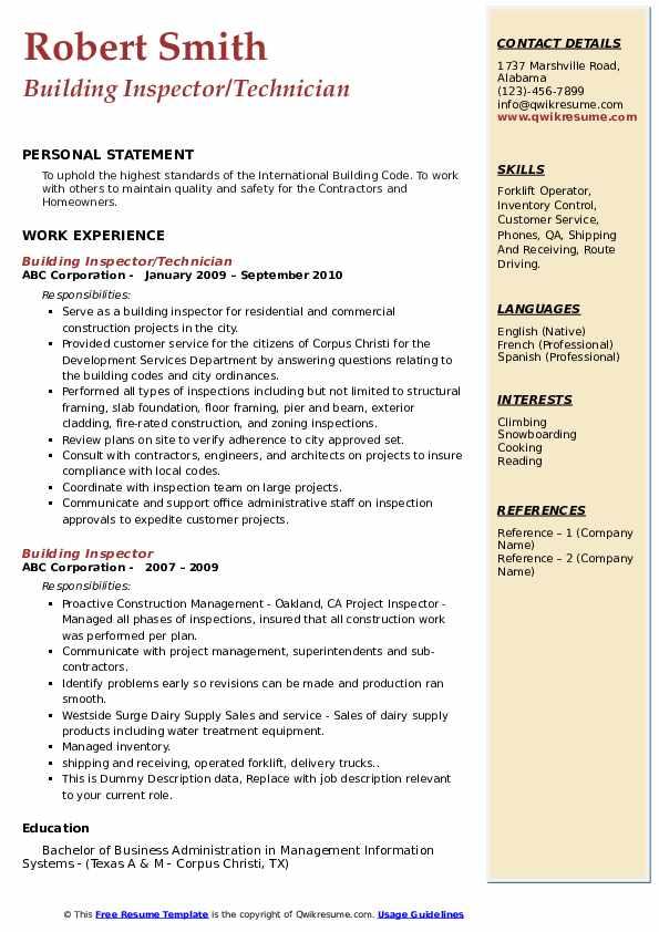 Building Inspector/Technician Resume Model