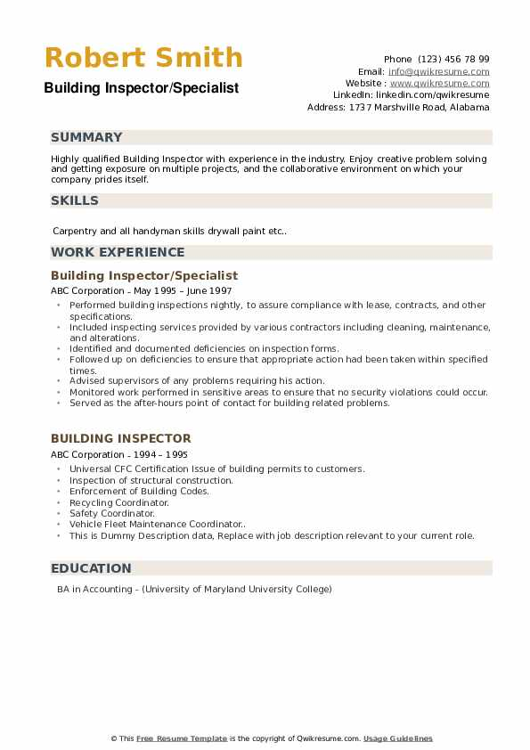 Building Inspector/Specialist Resume Example