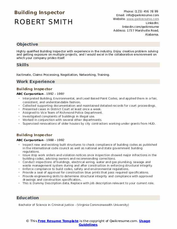 Building Inspector Resume example