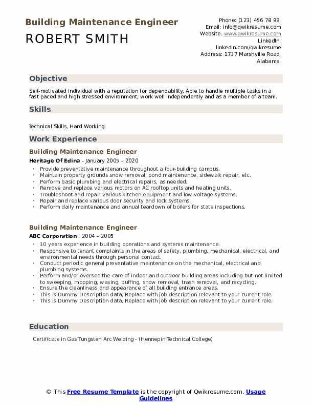 Building Maintenance Engineer Resume example