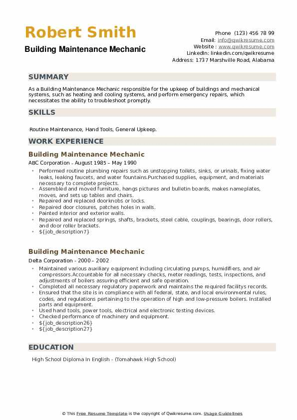 Building Maintenance Mechanic Resume example