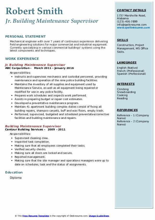 building maintenance supervisor resume samples  qwikresume