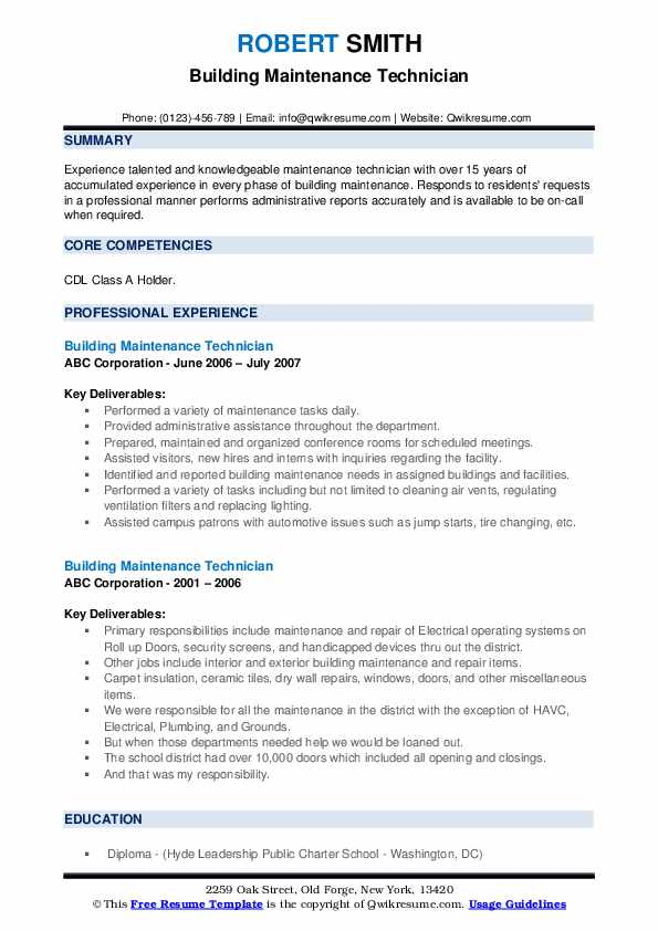 Building Maintenance Technician Resume example