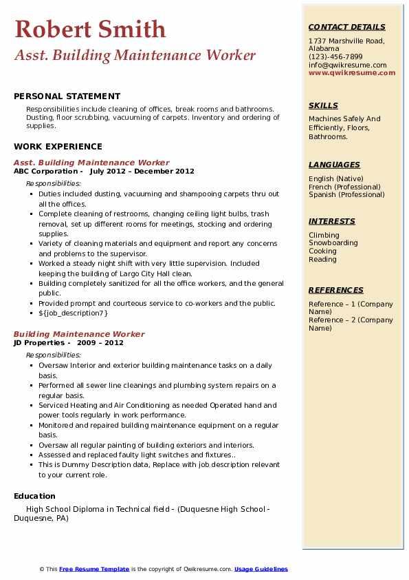 building maintenance worker resume samples  qwikresume