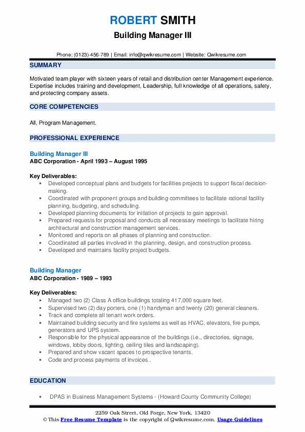 Building Manager III Resume Model