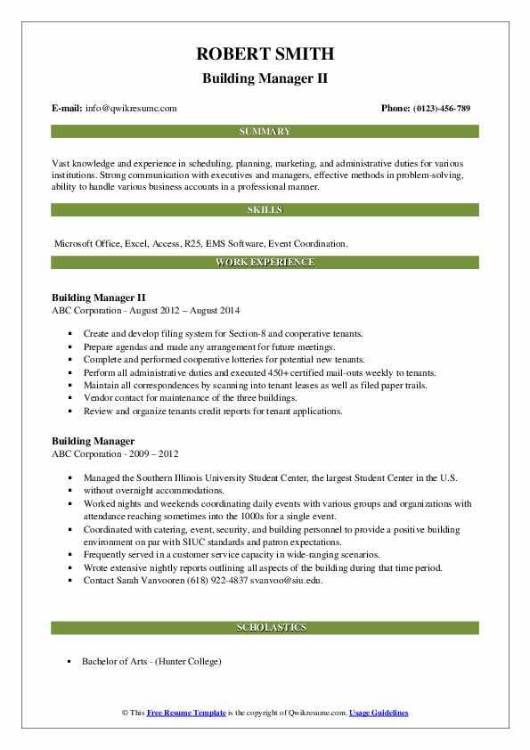 Building Manager II Resume Model