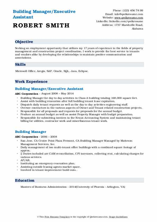 Building Manager/Executive Assistant Resume Format