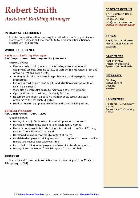 Assistant Building Manager Resume Sample
