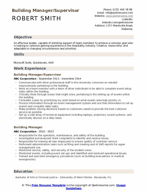 Building Manager/Supervisor Resume Example