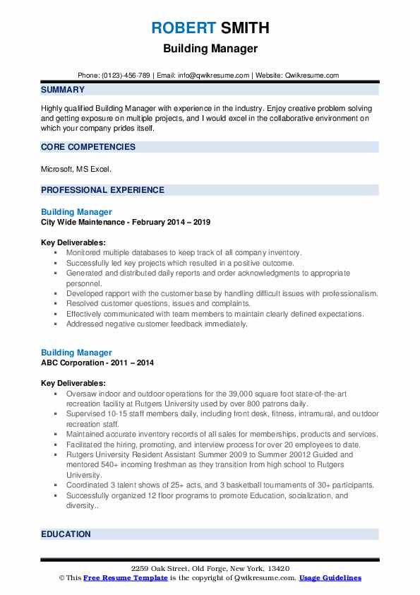 Building Manager Resume example