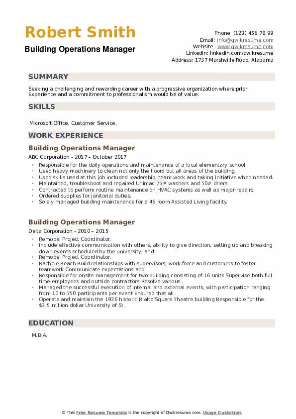 Building Operations Manager Resume example