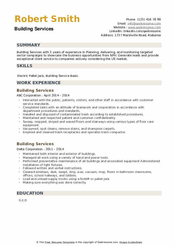 Building Services Resume example