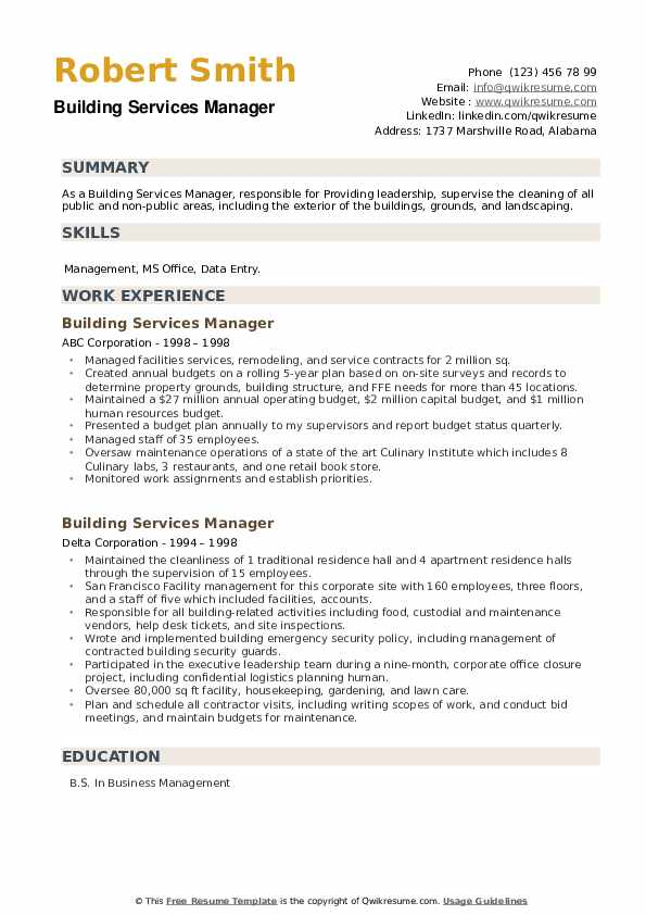 Building Services Manager Resume example