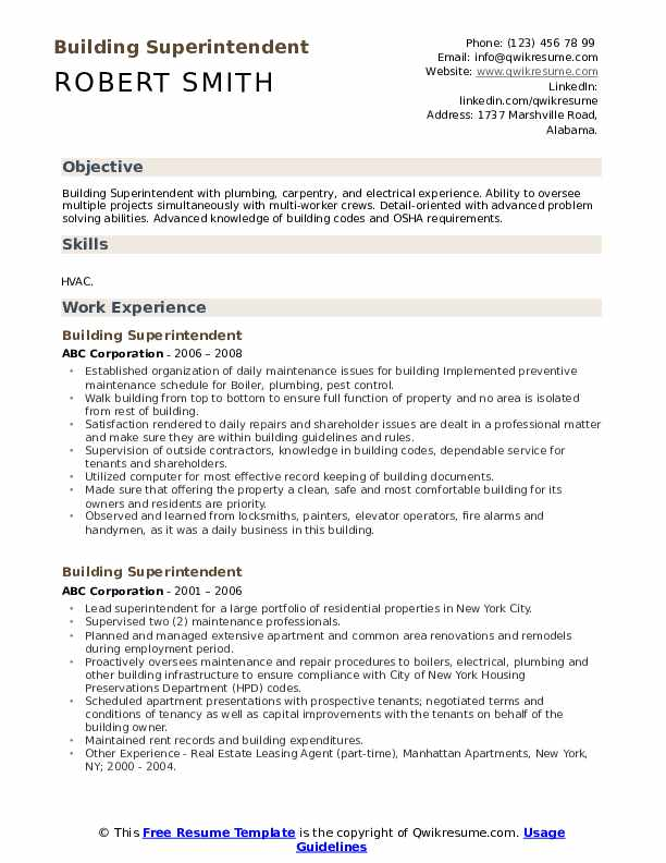 Building Superintendent Resume Template