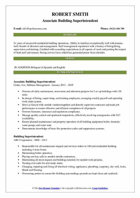 building superintendent resume samples  qwikresume