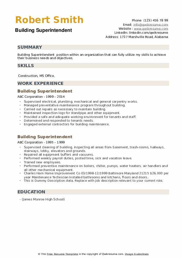 Building Superintendent Resume example