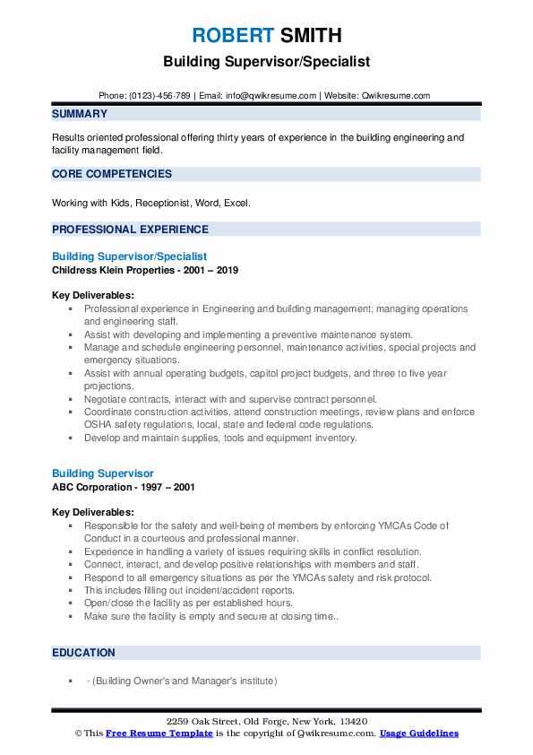 Building Supervisor/Specialist Resume Format