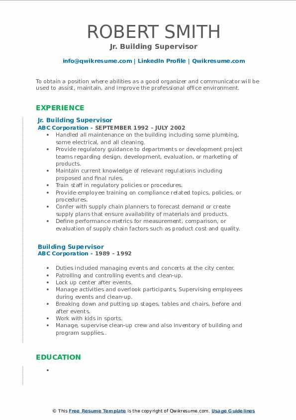 Jr. Building Supervisor Resume Example