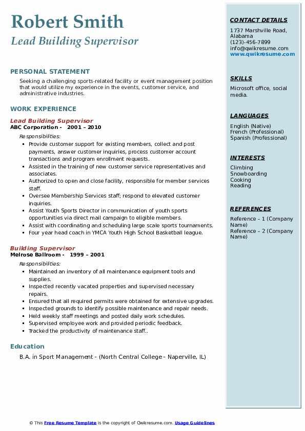 Lead Building Supervisor Resume Format