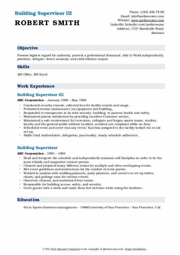 Building Supervisor III Resume Template
