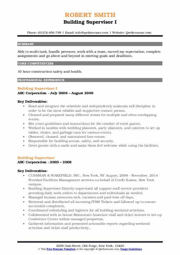 Building Supervisor I Resume Format