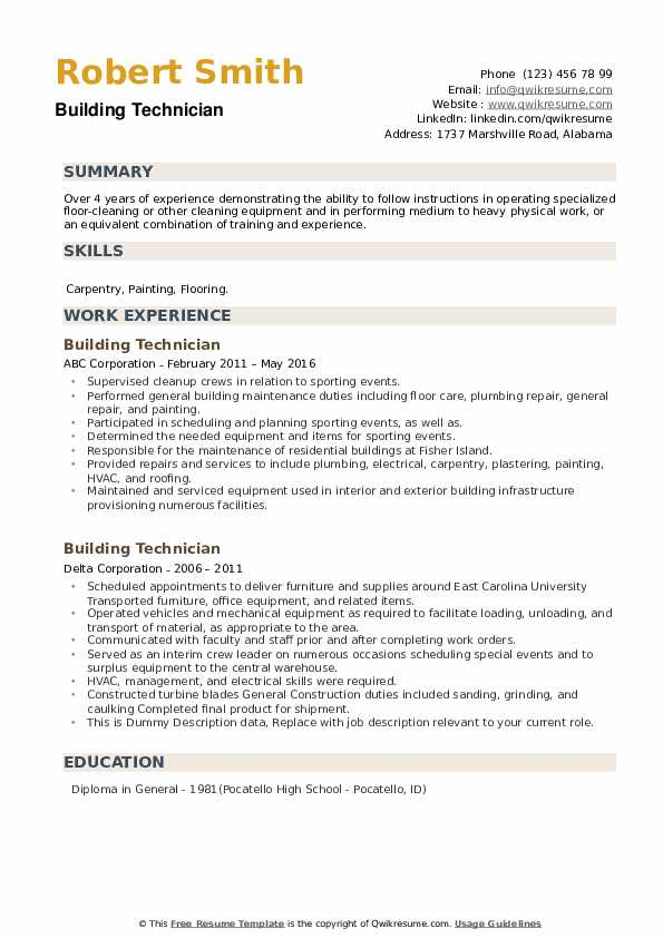 Building Technician Resume example