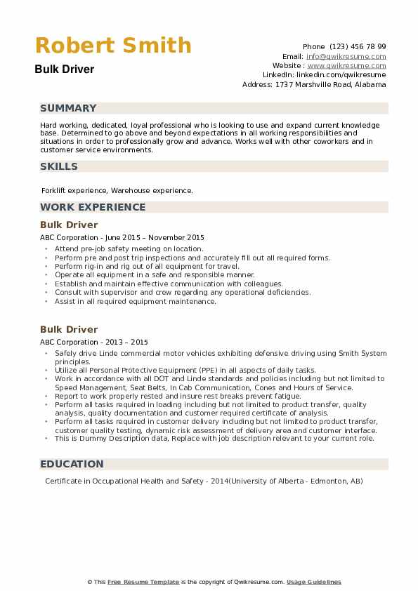 Bulk Driver Resume example